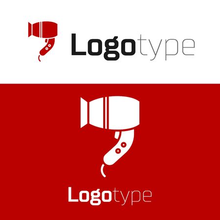 Red Hair dryer icon isolated on white background. Hairdryer sign. Hair drying symbol. Blowing hot air. Logo design template element. Vector Illustration Logos