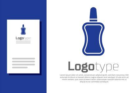 Blue Nail polish bottle icon isolated on white background. Logo design template element. Vector Illustration
