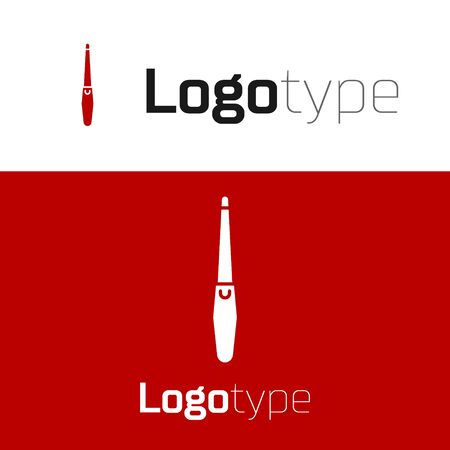 Red Nail file icon isolated on white background. Manicure tool. Logo design template element. Vector Illustration
