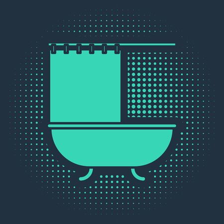 Green Bathtub with open shower curtain icon isolated on blue background. Abstract circle random dots. Vector Illustration