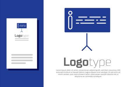 Blaues Informationssymbol isoliert auf weißem Hintergrund. Logo-Design-Vorlagenelement. Vektorillustration