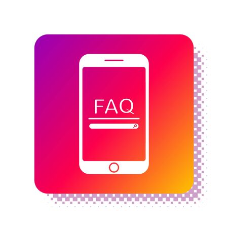White Mobile phone with text FAQ information icon isolated on white background. Frequently asked questions. Square color button. Vector Illustration Vektorgrafik