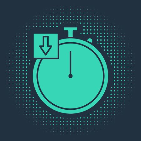 Green Stopwatch icon isolated on blue background. Time timer sign. Chronometer. Abstract circle random dots. Vector Illustration Ilustração