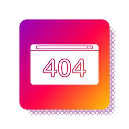 Página en blanco con un icono de error 404 aislado sobre fondo blanco. La plantilla informa que no se encuentra la página. Botón de color cuadrado. Ilustración vectorial Ilustración de vector