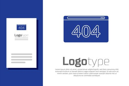 Blue Page with a 404 error icon isolated on white background. Template reports that the page is not found. Logo design template element. Vector Illustration