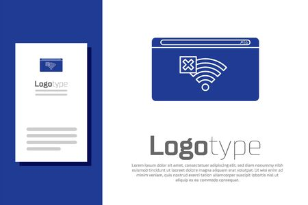 Blue No Internet connection icon isolated on white background. No wireless wifi or sign for remote internet access. Logo design template element. Vector Illustration