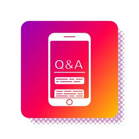Weißes Handy mit Frage- und Ausrufezeichenikone lokalisiert auf weißem Hintergrund. Häufig gestellte Fragen. Quadratischer Farbknopf. Vektorillustration