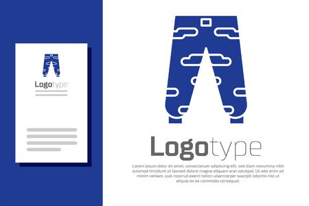 Blue Camouflage cargo pants icon isolated on white background. Logo design template element. Vector Illustration