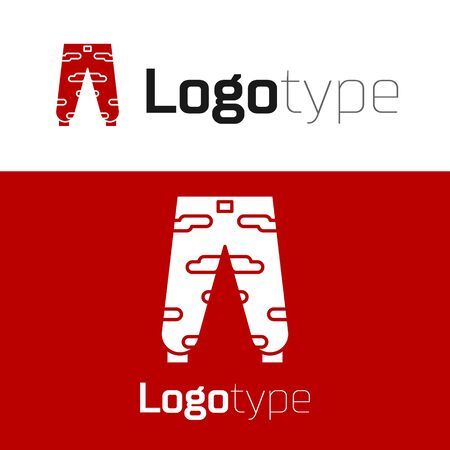 Red Camouflage cargo pants icon isolated on white background. Logo design template element. Vector Illustration