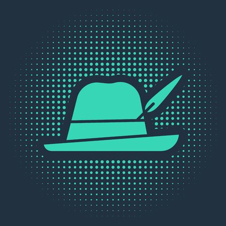 Green Oktoberfest hat icon isolated on blue background. Hunter hat with feather. German hat. Abstract circle random dots. Vector Illustration 矢量图像