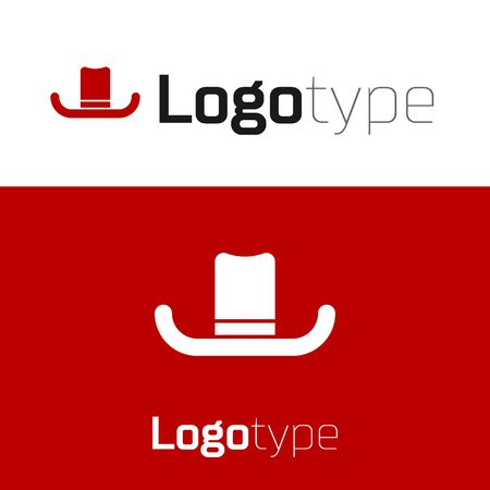 Red Man hat with ribbon icon isolated on white background. Logo design template element. Vector Illustration