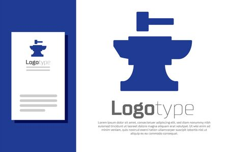 Blue Anvil for blacksmithing and hammer icon isolated on white background. Metal forging. Forge tool. Logo design template element. Vector Illustration