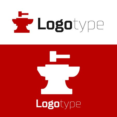 Red Anvil for blacksmithing and hammer icon isolated on white background. Metal forging. Forge tool. Logo design template element. Vector Illustration