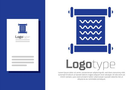 Blue Decree, paper, parchment, scroll icon icon isolated on white background. Logo design template element. Vector Illustration