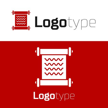 Red Decree, paper, parchment, scroll icon icon isolated on white background. Logo design template element. Vector Illustration Ilustração