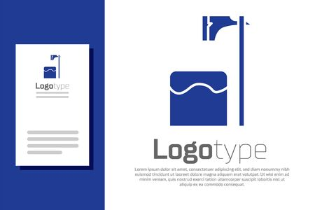 Blue Executioner axe in tree block icon isolated on white background. Hangman, torturer, executor, tormentor, butcher, headsman. Logo design template element. Vector Illustration