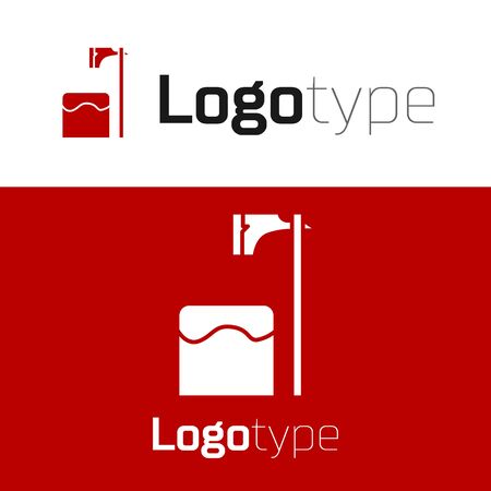 Red Executioner axe in tree block icon isolated on white background. Hangman, torturer, executor, tormentor, butcher, headsman. Logo design template element. Vector Illustration