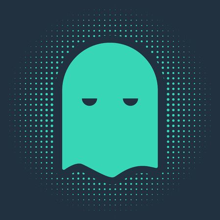 Green Executioner mask icon isolated on blue background. Hangman, torturer, executor, tormentor, butcher, headsman icon. Abstract circle random dots. Vector Illustration