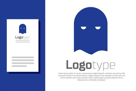 Blue Executioner mask icon isolated on white background. Hangman, torturer, executor, tormentor, butcher, headsman icon. Logo design template element. Vector Illustration