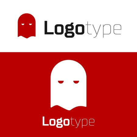 Red Executioner mask icon isolated on white background. Hangman, torturer, executor, tormentor, butcher, headsman icon. Logo design template element. Vector Illustration Stock Illustratie