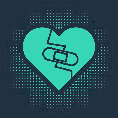 Green Healed broken heart or divorce icon isolated on blue background. Shattered and patched heart. Love symbol. Valentines day. Abstract circle random dots. Vector Illustration Ilustração