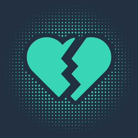 Green Broken heart or divorce icon isolated on blue background. Love symbol. Valentines day. Abstract circle random dots. Vector Illustration