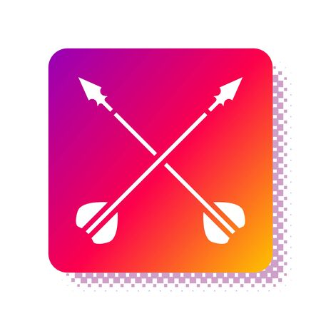 White Medieval crossed arrows icon isolated on white background. Medieval weapon. Square color button. Vector Illustration