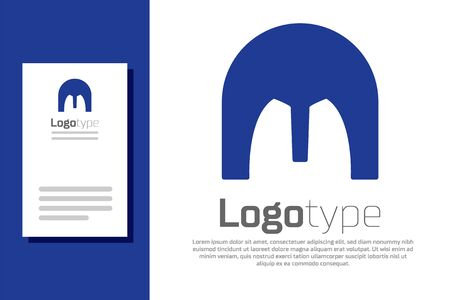 Blue Medieval iron helmet for head protection icon isolated on white background. Logo design template element. Vector Illustration Archivio Fotografico - 138915296