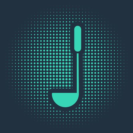 Green Kitchen ladle icon isolated on blue background. Cooking utensil. Cutlery spoon sign. Abstract circle random dots. Vector Illustration Illustration
