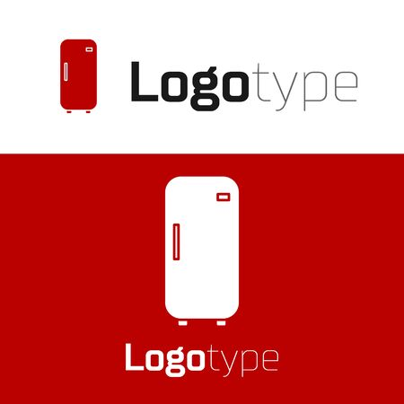 Red Refrigerator icon isolated on white background. Fridge freezer refrigerator. Household tech and appliances. Logo design template element. Vector Illustration Ilustração
