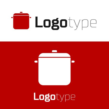 Red Cooking pot icon isolated on white background. Boil or stew food symbol. Logo design template element. Vector Illustration