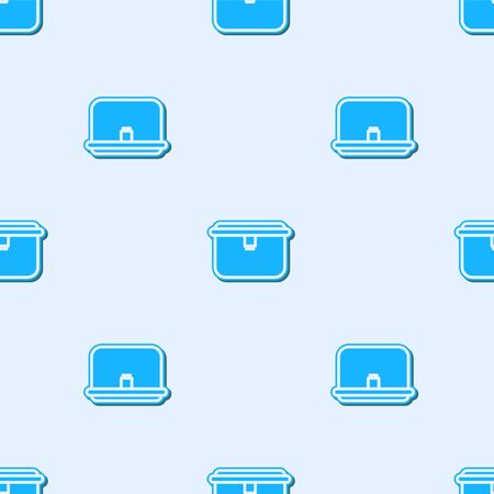 Blue line Lunch box icon isolated seamless pattern on grey background. Vector Illustration Illustration