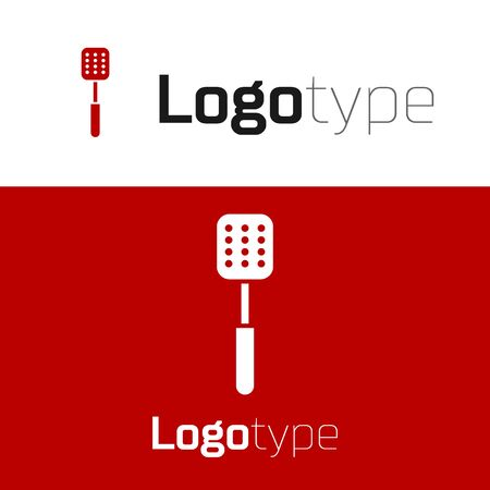 Red Spatula icon isolated on white background. Kitchen spatula icon. BBQ spatula sign. Barbecue and grill tool. Logo design template element. Vector Illustration Ilustração