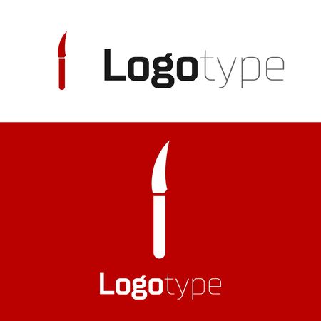 Red Knife icon isolated on white background. Cutlery symbol. Logo design template element. Vector Illustration Stock Illustratie
