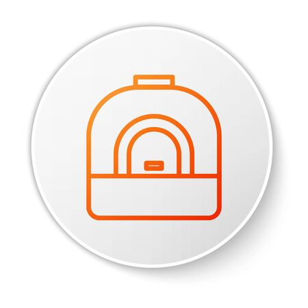 Orange line Oven icon isolated on white background. Stove gas oven sign. White circle button. Vector Illustration