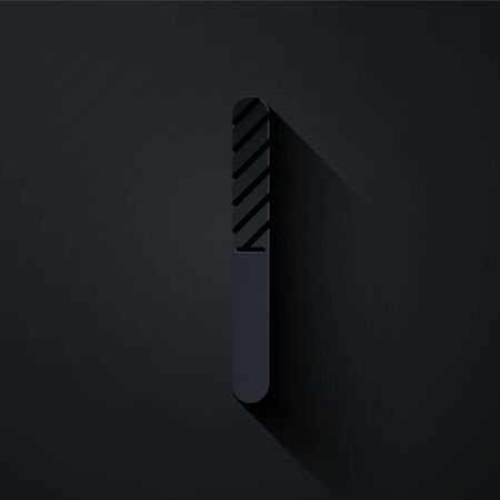 Paper cut Nail file icon isolated on black background. Manicure tool. Paper art style. Vector Illustration