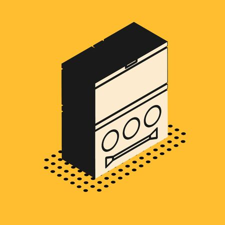 Isometric Eye shadow palette with brush icon isolated on yellow background. Vector Illustration