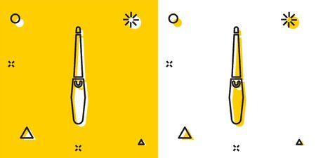 Icono de lima de uñas negro aislado sobre fondo amarillo y blanco. Herramienta de manicura. Formas dinámicas aleatorias. Ilustración vectorial