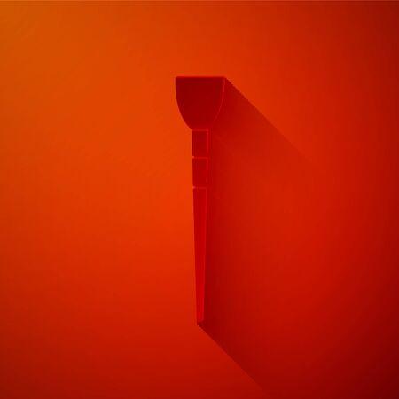 Icono de pincel de maquillaje de corte de papel aislado sobre fondo rojo. Estilo de arte de papel. Ilustración vectorial