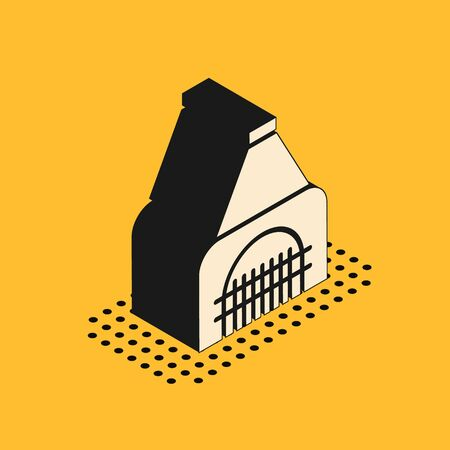 Isometric Interior fireplace icon isolated on yellow background. Vector Illustration Vettoriali