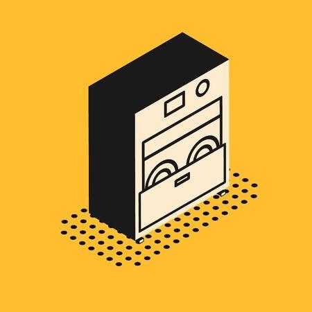Isometric Kitchen dishwasher machine icon isolated on yellow background. Vector Illustration