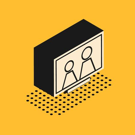 Isometric Picture frame on table icon isolated on yellow background. Vector Illustration Illustration