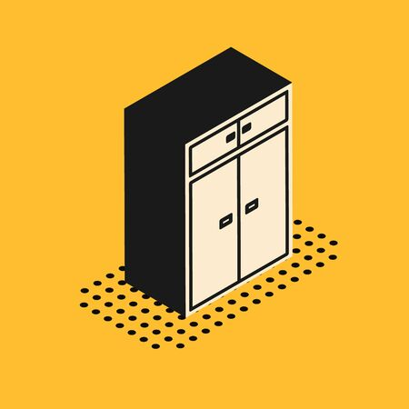 Isometric Wardrobe icon isolated on yellow background. Vector Illustration