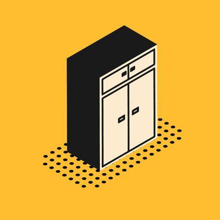 Isometric Wardrobe icon isolated on yellow background. Vector Illustration