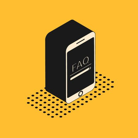 Isometric Mobile phone with text FAQ information icon isolated on yellow background. Frequently asked questions. Vector Illustration