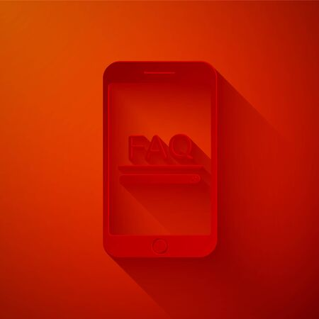 Paper cut Mobile phone with text FAQ information icon isolated on red background. Frequently asked questions. Paper art style. Vector Illustration