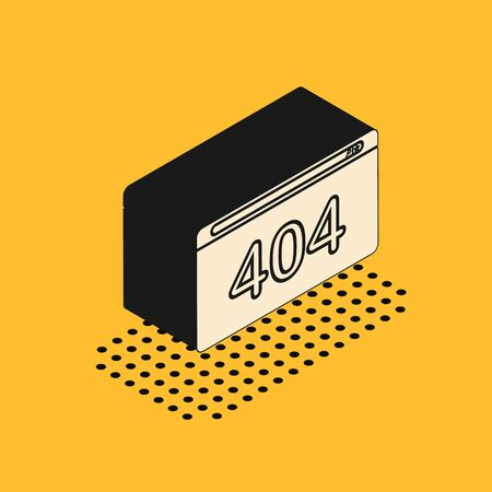 Isometric Page with a 404 error icon isolated on yellow background. Template reports that the page is not found. Vector Illustration Ilustración de vector