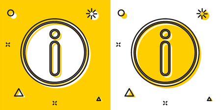 Schwarzes Informationssymbol isoliert auf gelbem und weißem Hintergrund. Zufällige dynamische Formen. Vektorillustration Vektorgrafik