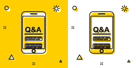 Black Mobile phone with Question and Exclamation icon isolated on yellow and white background. Frequently asked questions. Random dynamic shapes. Vector Illustration Иллюстрация