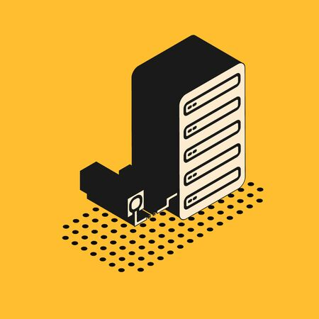Isometric Server icon isolated on yellow background. Adjusting app, service concept, setting options, maintenance, repair, fixing. Vector Illustration